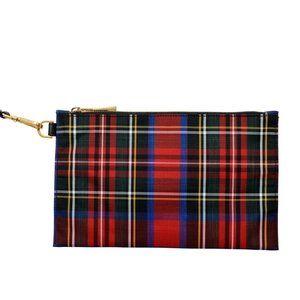 Versace Women's Canvas Plaid Wristbag Clutch Bag